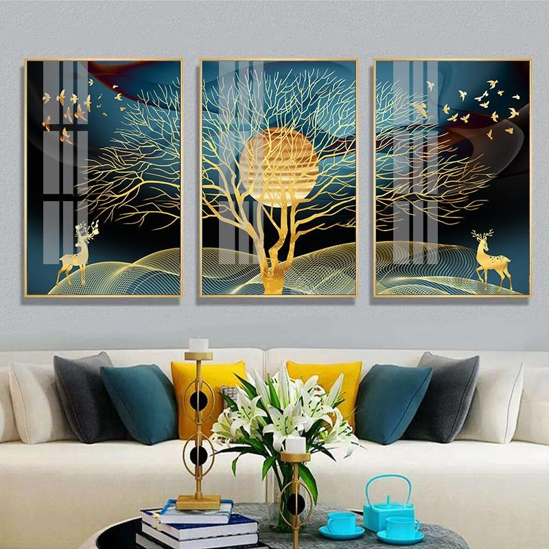 Pintura de parede abstrata dourada de cervos, árvore de cervos, pássaro, posteres nórdicos e impressões, imagens decorativas para sala de estar, decoração de casa