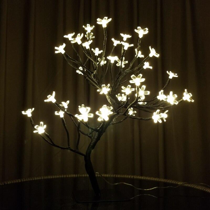 Switch Control 24/36/48 Flowers Cherry Tree Led Decorative Lights DC 5V Christmas Lights Decoration Tree Garland Holiday Lights