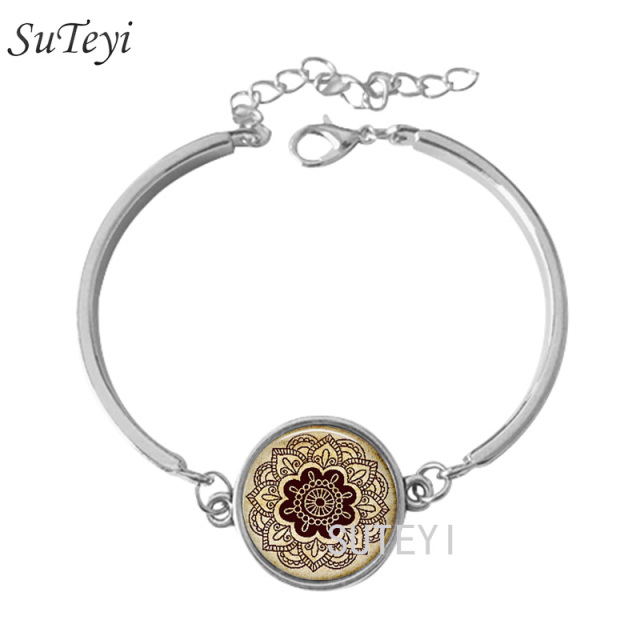 gold bead jewellery image rose with stretch mandala bracelet grey