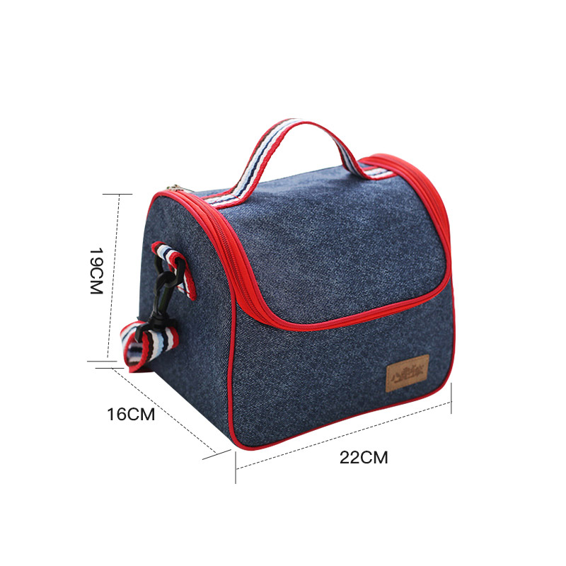 Hot Denim Lunch Bag Kid Bento Box Insulated Pack Picnic Drink Food Thermal Ice Cooler Leisure Accessories Supplies Product Stuff