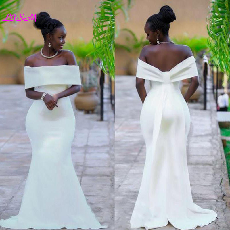 African Long Sleeves Mermaid Evening Dresses 2019 Off Shoulder Sweep Train Prom Party Gowns Sexy Bodice Backless Robe De Soiree