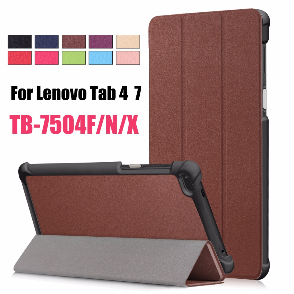 For <font><b>lenovo</b></font> <font><b>Tab</b></font> 4 <font><b>7</b></font> <font><b>TB</b></font>-<font><b>7504X</b></font> <font><b>TB</b></font>-7504F <font><b>TB</b></font>-7504N Business Painted Print Slim Magnetic Folding PU Leather Flip Cover Case image