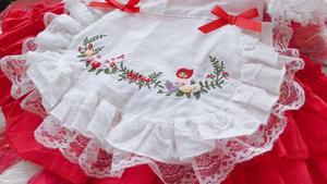 Image 4 - 1 6Y תינוק בנות אדום בציר ספרדית Pompom שמלת שמלת תחרה לוליטה שמלת נסיכת שמלת בנות חג המולד מסיבת יום הולדת שמלה