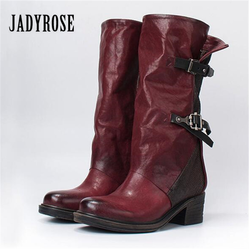 Jady Rose Handmade Wine Red Women Genuine Leather Boots Vintage Belt Buckle Riding Boots Female Rubber