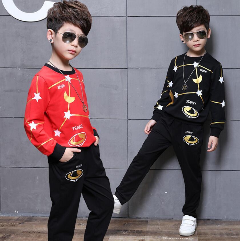 Children Clothing Kids Cute Suit Boy Top+Pants 2pcs Star Pattern Boys Spring Autumn Clothes Suit