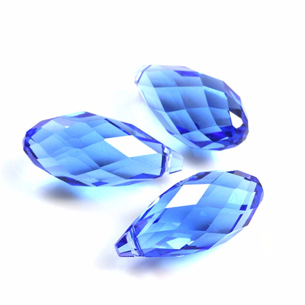 12x25mm 5pcs/lot European Charm Crystal Beads,Blue Color Tear Drop Beads,Cross Hole Crystals Beading For DIY Decoration