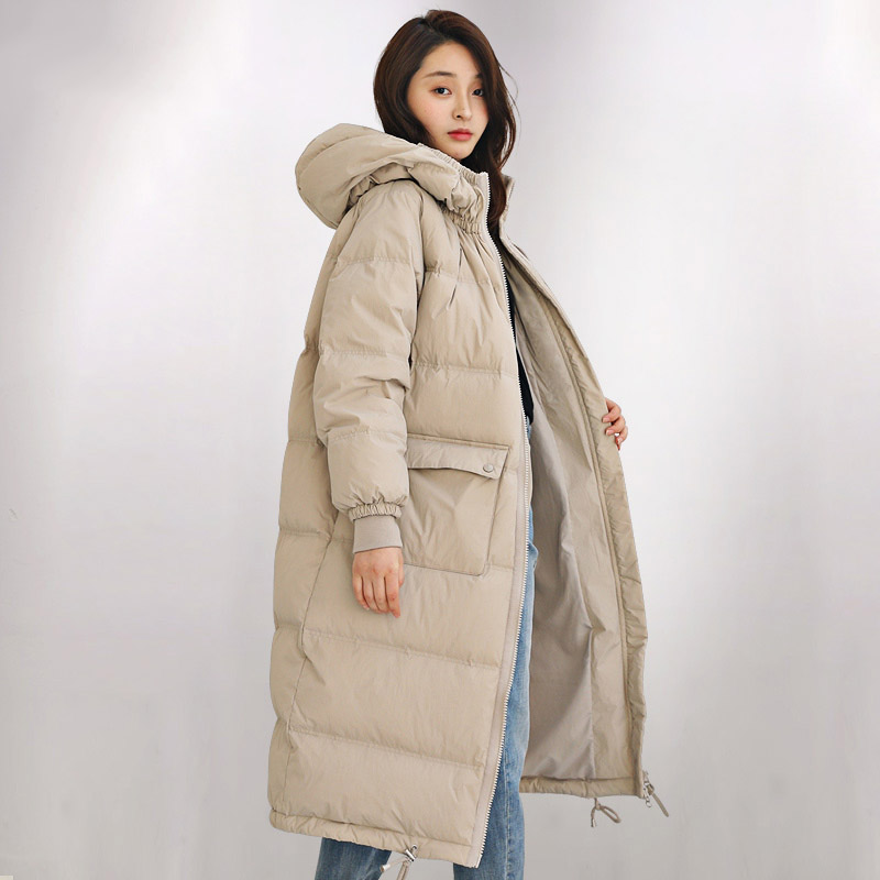 Loose fit long   down     coat   women hooded thickening warm white   down   outerwear 2019 new autumn winter