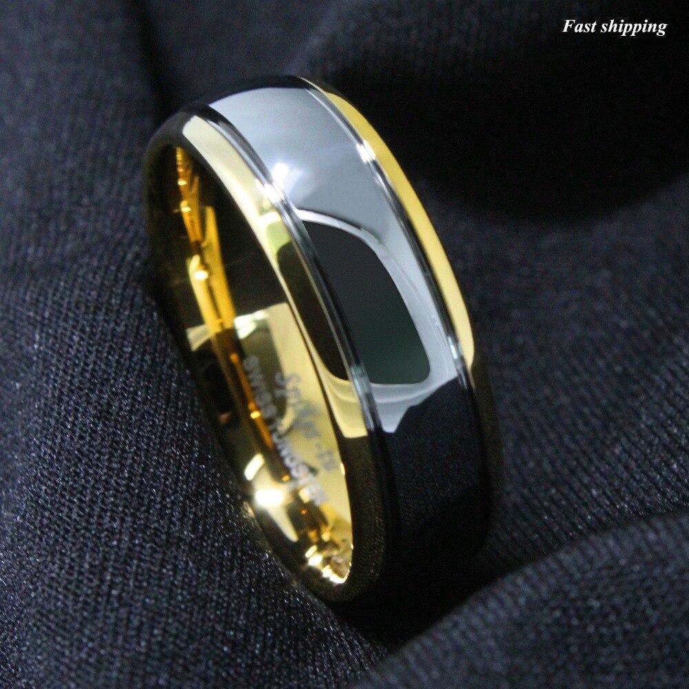 """8 מ""""מ טונגסטן קרביד טבעת נישואים זהב כיפת Gunmetal כלה תכשיטי גברים טבעת כסף גודל 6-13"""