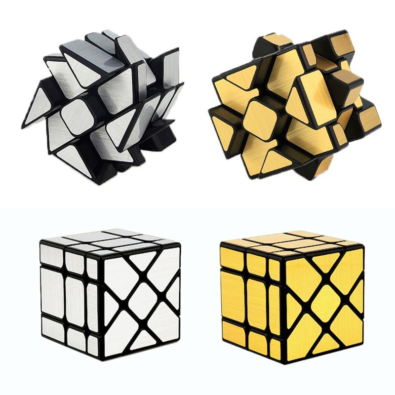 Moyu espelho cubo espelhos espelho mágico cubo de prata dourada escovado roda quente quebra-cabeça cubo educacional 3x3 presentes forma estranha