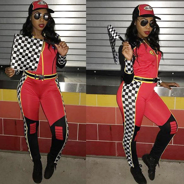 71a1bbee459 2018 JUMPSUIT Zip Front Checked ROMPER Hoodie Women Stretch Overalls Long  Sleeve Plaid Pants Motorsport National Flag Tight Jum