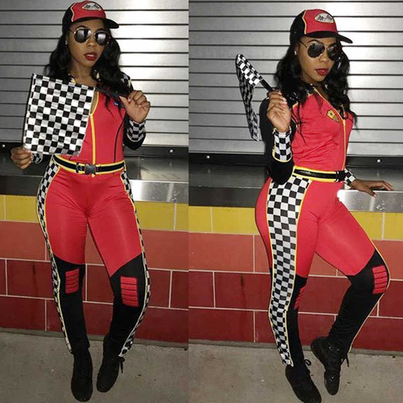 708592c460 2018 JUMPSUIT Zip Front Checked ROMPER Hoodie Women Stretch Overalls Long  Sleeve Plaid Pants Motorsport National