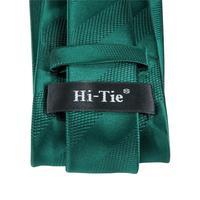 C-3126 Hi-Tie Luxury Silk Men Tie Striped Green Necktie Handkerchief Cufflinks Set Fashion Men's Party Wedding Tie Set 8.5cm 5