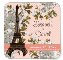1.5inch Eiffel Tower Wedding Favor Labels Stickers