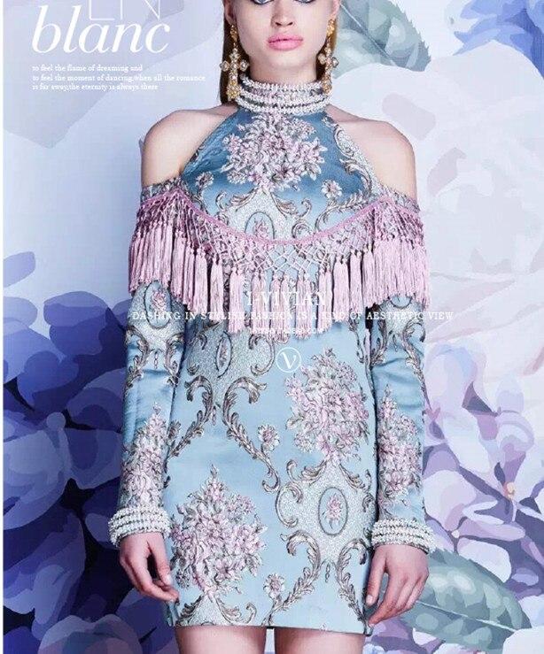 2018 New Chinese Style Fringe Cheongsam Jacquard Embroidery Cheongsam Improved Version Of The Dress Evening Dress Skirt.