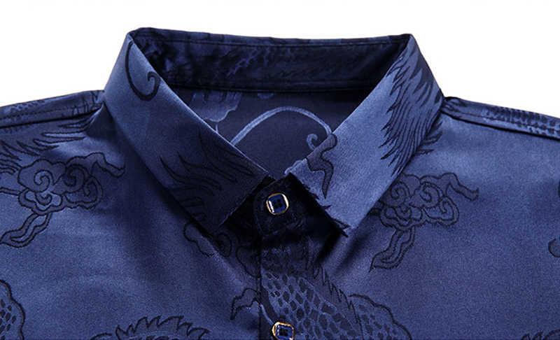 bb5b9ea9d ... Wine Red Smooth Silk Satin Shirt Men 2019 Chinese Dragon Jacquard Mens  Slim Fit Long Sleeve ...