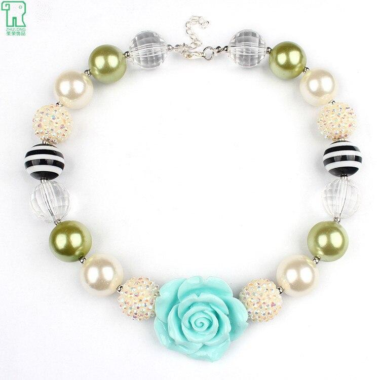 3b42cf360 2015 New Blue Rose Flower Kids Colgante Collares Chunky Beads Bubblegum  Collar de Los Colgantes Para Los Niños Chico Chica Joyería