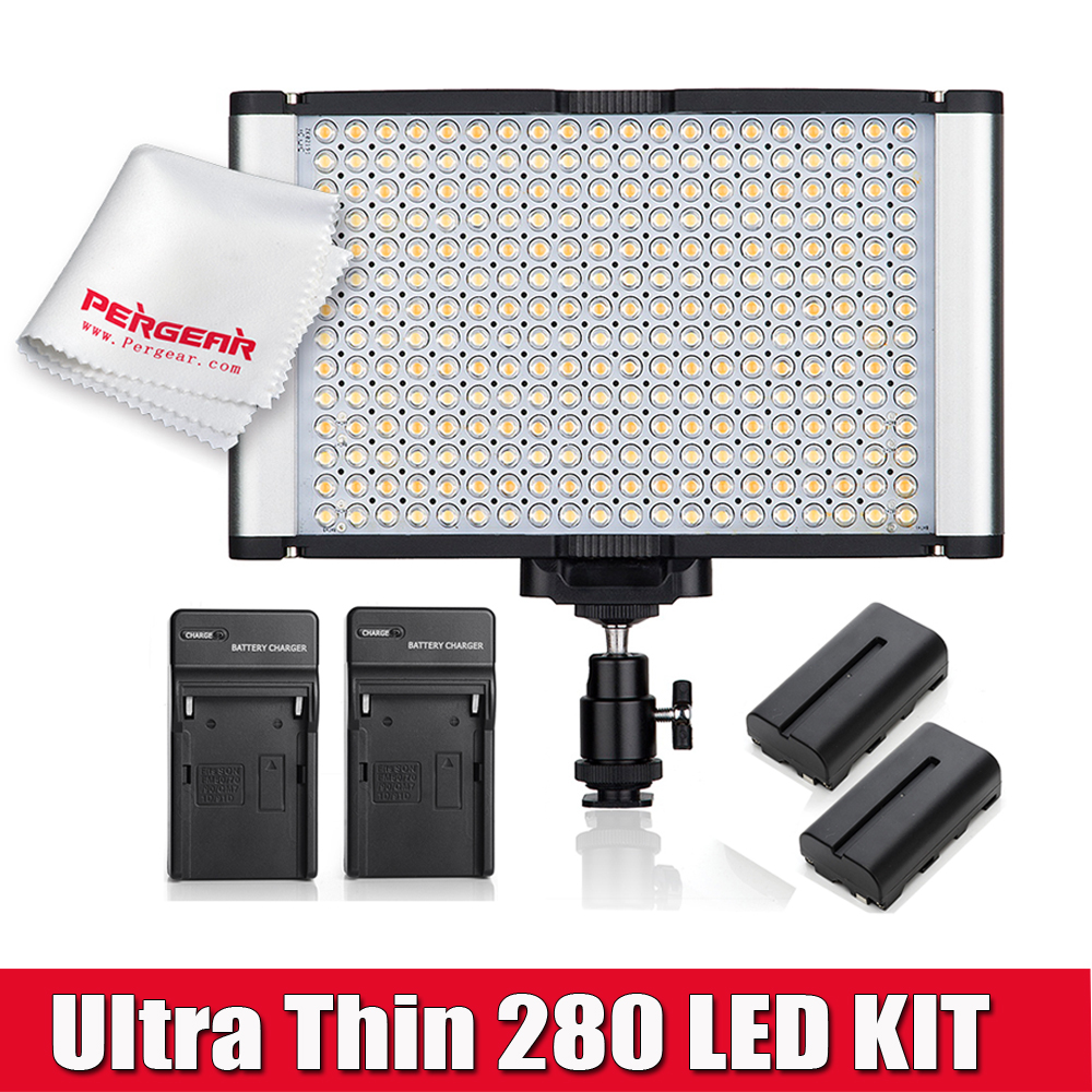 280 Led Video Light Panel Ultra Thin High CRI 95+ Kit  Color Temperature Adjustable (3200K-5600K) + 2 pcs Batteries + 2 Chargers
