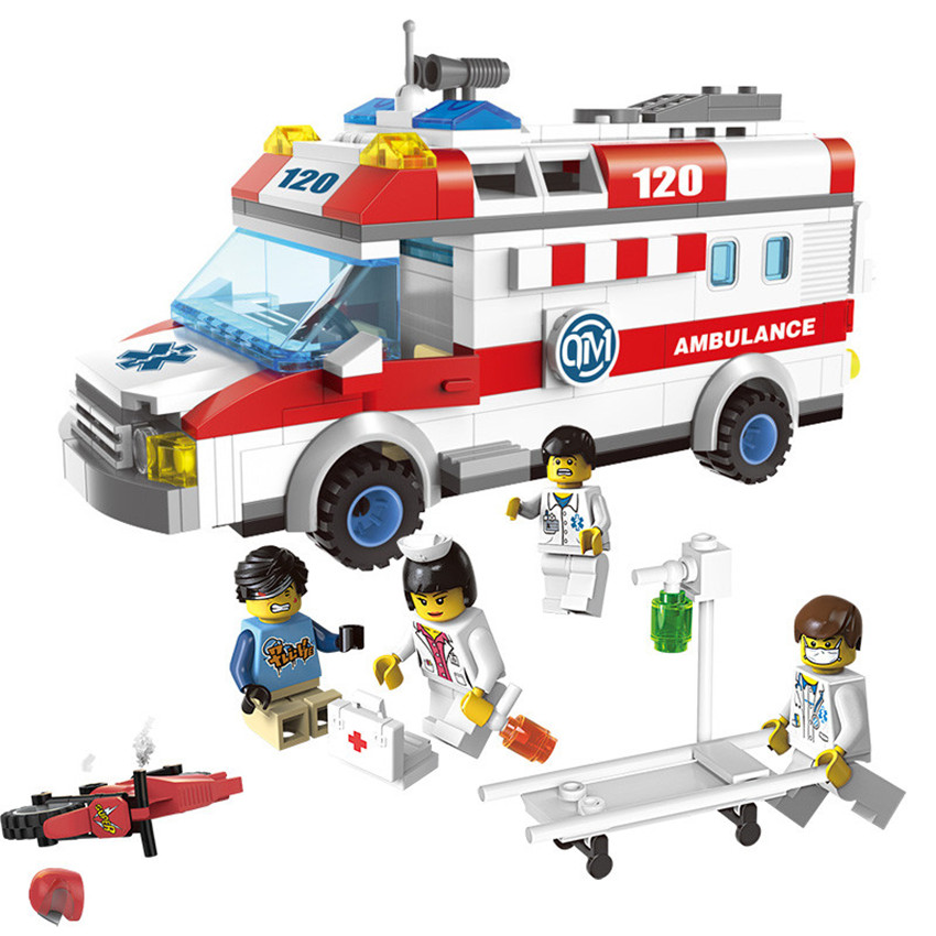 328pcs DIY Brand Compatible Ambulance First Aid Truck Building Blocks Educational Assembly Bricks Toys for Kids Gift kazi bricks blocks truck educational building blocks diy kids toys gift block compatible with lego