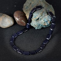 KCALOE Fashion Jewelry Square Blue Sand Choker Necklace Vintage Accessories Handmade Rope Semi Precious Stones Necklaces