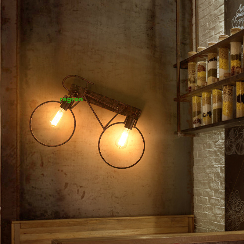 Loft vintage industrial Sconce Wall Lights bar cafe bicycle corridor Light aisle decorative lighting wrought iron Led wall lamp|LED Indoor Wall Lamps| |  - title=