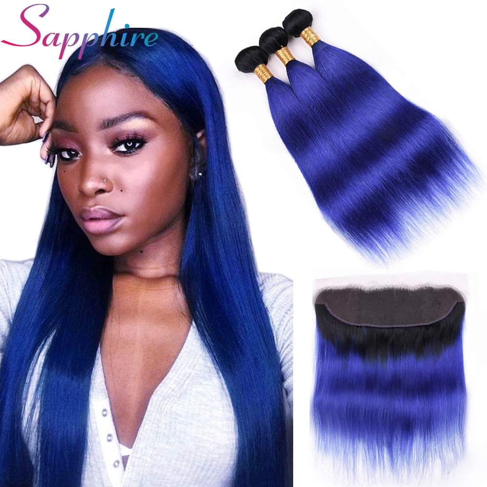Sapphire Hair T1B Blue Ombre Bundles With Frontal 4 Pieces Human Hair 13 4 Lace Frontal
