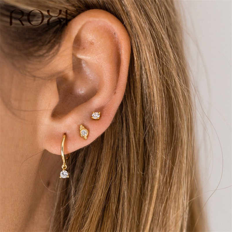 ROXI Luxury Female Zirconia Hoop Earrings for Women CZ Crystal Round Circle Earings Fashion Jewelry Korean Earrings Summer Gifts