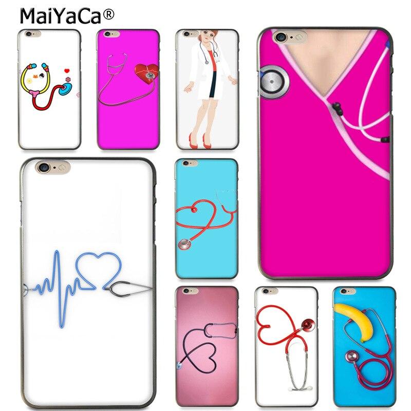 Maiyaca стетоскоп больница медсестры розовый дизайн кожа тонкий черный cell чехол для iPhone 8 7 6 6 S Plus x 10 5 5S SE 5C случае Coque