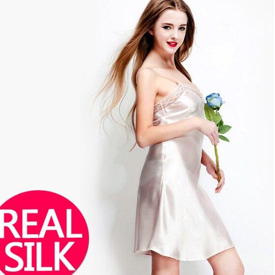 02e3502038be698 100% чистый шелк ночные рубашки женские сексуальные пижамы домашние платья шелковая  ночная рубашка атласная ночная рубашка Летний стиль розовый белый черный ...