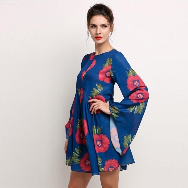 dc0178c562def 2016 Newest Women Dresses Beautiful Black Long Sleeve Floral Print Dress  Round Neck Flare Sleeve Short Chiffon Dress