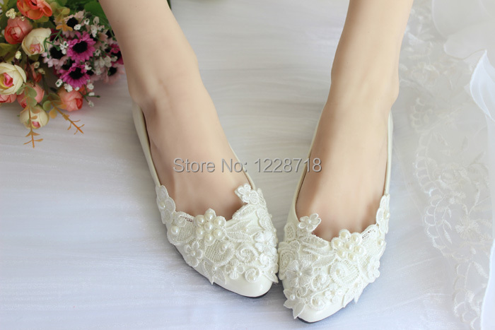 White Pearls Lace Flower Bride Flats Wedding Shoes Rhinestone Women Flat  Sapatos Femininos Size 11 12 In Womenu0027s Flats From Shoes On Aliexpress.com  ... Idea
