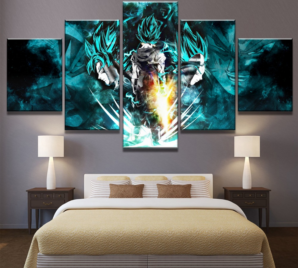 Hot Sales Without Frame 5 Panels Picture Dragon Ball Animation Canvas Print Painting Artwork Wall Art Canvas painting Wholesale in Painting Calligraphy from Home Garden