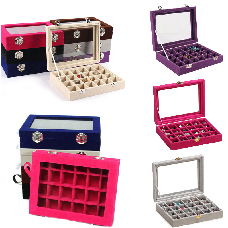 24 rejillas negro Rose Red Velvet joyería Anillos Pendientes Collares cosmética titular organizador de almacenamiento de joyería