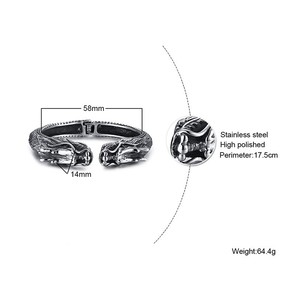 Image 2 - Heavy Stainless Steel Dragon Head Cuff Bracelet for Men Nomad Tribal Vintage Bangle Jewelry