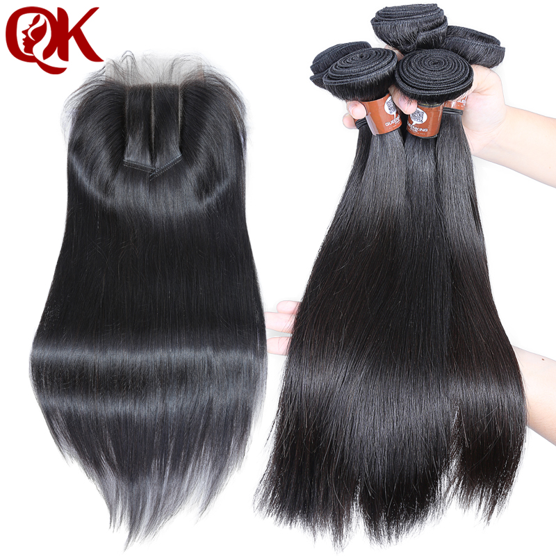 QueenKing Hair 3 Bundles Weft hair With lace closure 5X5 3 way part Silky Straight Brazilian Remy Human hair weave Thick hair