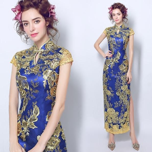 Cheongsam Dress Lace Red Blue White Glod Qipao Long Dragon And Phoenix Chinese Style Wedding
