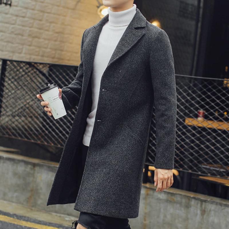Nuevo gabardina larga para hombre, gabardina de lana de moda para hombre, cortavientos, sobretodo Steampunk para hombre, abrigos casuales C75NF21 - 4