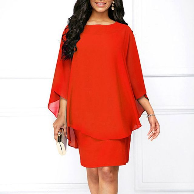 US $9.5 28% OFF|2XL 3XL Plus Size Dress Women Vintage Fake Two Piece  Overall Dresses Purple Red Blue Black Chiffon Dress Elegant Party  Vestidos-in ...