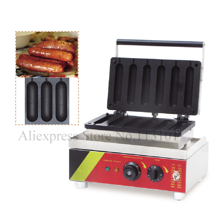 Sausage baking machine commercial hot dog baking machine stainless steel lolly hotdog waffle maker with Six pcs moulds stainless steel commercial corn dog waffle maker lolly waffle maker machine for sale