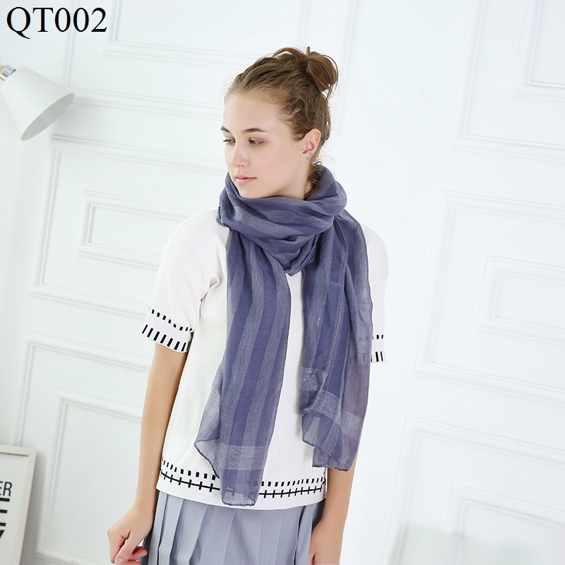 F&U Tr-cotton Viscose Long Striped Soft   Scarf     Wrap   Luxury Shawl Fashion And Warm For Woman In Winter 11 Colors For Choice