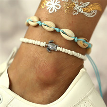 2 Pcs Vintage Beach Shell Conch Turtle Anklet Blue Rope White Beads Chain Anklet For Women 2019 New Jewelry vintage engraved floral anklet for women