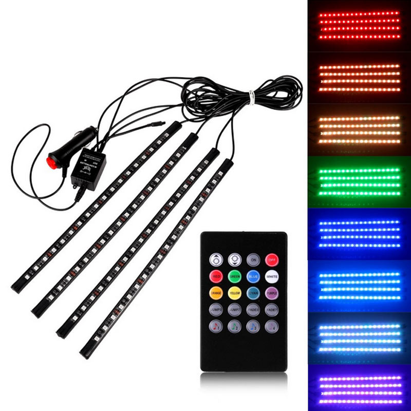 4pcs car atmosphere lamp with remote control rgb led strip for Licht interieur