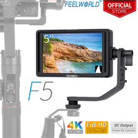 FEELWORLD F5 5 дюймов на Камера монитор для зеркального фотоаппарата для уличной съемки 4 К HDMI ips Full HD 1920x1080 Focus Assist DC Вход Выход включают наклона Arm