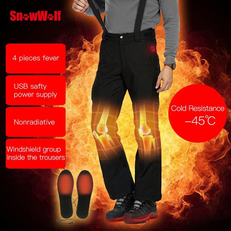 SNOWWOLF 2019 Hommes D'hiver En Plein Air Ski Pantalon USB Infrarouge Chauffée Sports D'hiver Pantalon Électrique Thermique Snowboard Pantalons Imperméables - 2