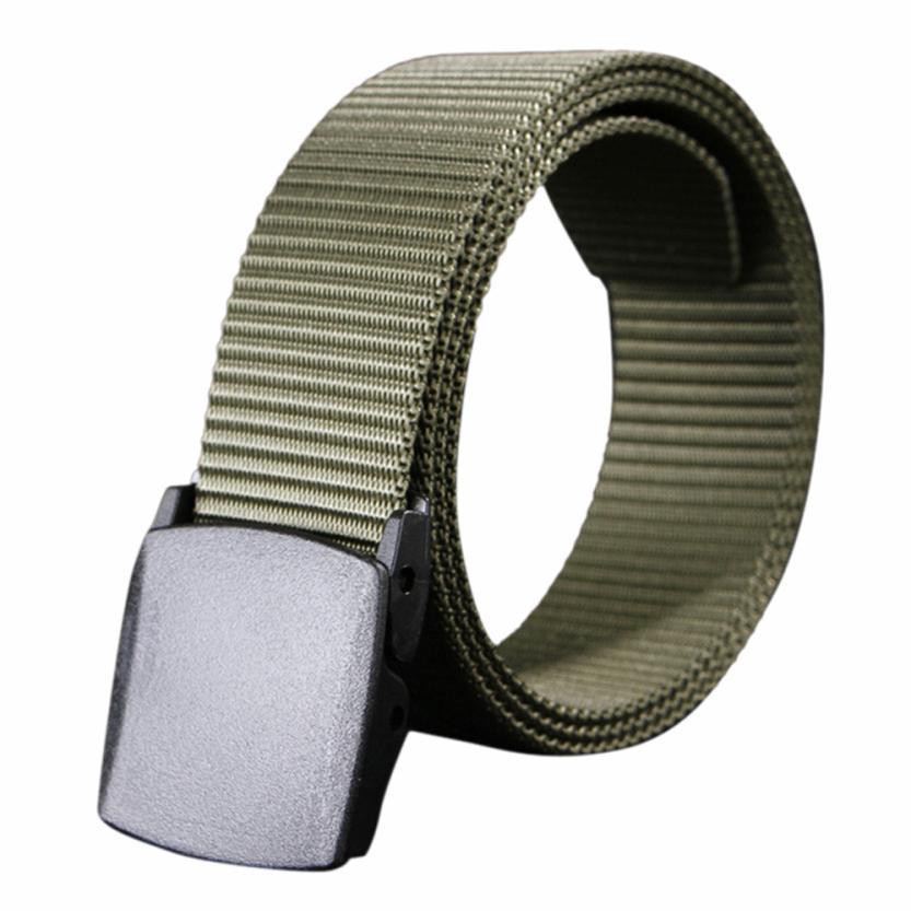 CHAMSGEND Wild Men Canvas Belt Hypoallergenic Metal free Plastic Automatic leather gun belts Buckle Drop Shipping 1F24