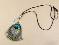 Free Shipping Tribe Natrual Feather Long Necklace Antique Silver Hippie Bohemian Wooden Beads Pendent Necklace