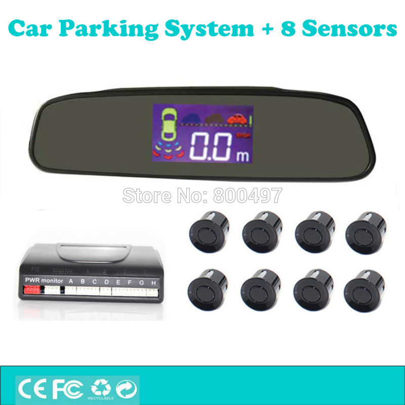 Car Backup Reverse and Front Radar System Parking Assistance System with Rearview Mirror TFT LCD Display and 8 Parking Sensors lcd parking sensors display monitor rearview car parking assistance backup radar system 4 sensors reverse radar car accessories