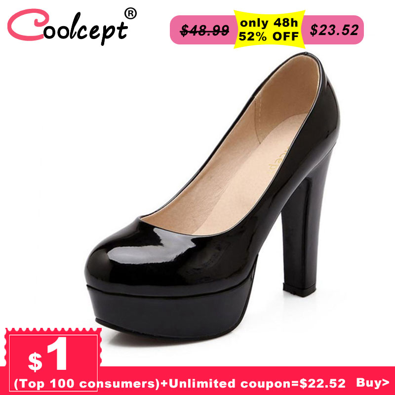 Coolcept women stiletto high heel shoes sexy lady platform spring fashion heeled pumps heels shoes plus big size 31-47 P16738 new 2017 fashion women stiletto high heel shoes sexy lady platform spring fashion heeled pumps heels shoes pink plus big size