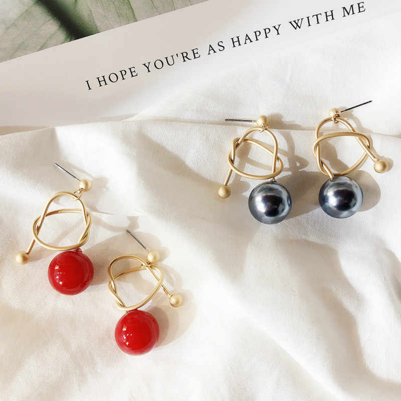 Classic Simulated-pearl Water Drop Women Dangle Earrings Red Cherry Knotted Pearl Ball Earrings  Bohemian Drop Earrings