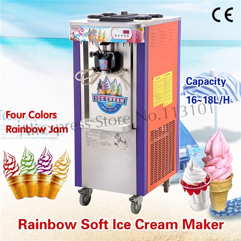 Commercial Rainbow Ice Cream Machine for Colorful Ice Cream Making Machine One Flavor with 4 Color Raibow Strip Decorated чехол для iphone 4 4s printio rainbow ice cream