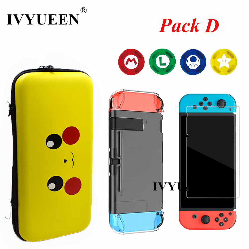 IVYUEEN Travel Carrying Bag for Nintend Switch NS Console & Tempered Film Crystal Case Shell Analog Thumb Sticks Grips CapIVYUEEN Travel Carrying Bag for Nintend Switch NS Console & Tempered Film Crystal Case Shell Analog Thumb Sticks Grips Cap